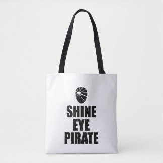 Eyepatch do pirata do olho do brilho. Texto escuro Bolsa Tote