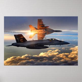 F18 que libera alargamentos pôster