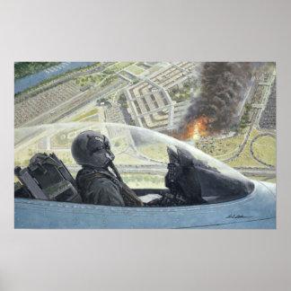 "F-16 sobre o poster 14"" do Pentágono 9/11 x22 """