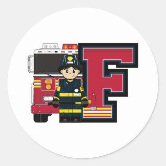 F é para o bombeiro dos desenhos animados adesivo
