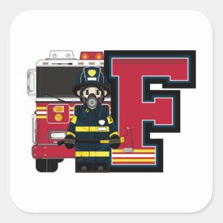 F é para o bombeiro dos desenhos animados adesivo quadrado