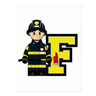 F é para o bombeiro dos desenhos animados cartão postal