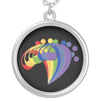 Fã do arco-íris do Clef baixo Colar Banhado A Prata