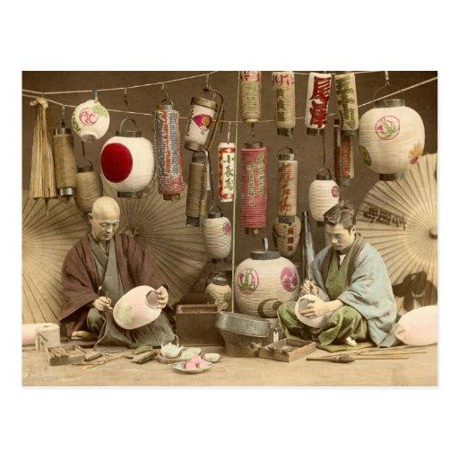 Fabricantes japoneses da lanterna de papel, foto d cartao postal