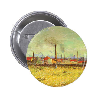 Fábricas em Asnieres, Van Gogh, belas artes do Bóton Redondo 5.08cm