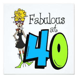 Fabuloso louro no aniversário 40 convite quadrado 13.35 x 13.35cm