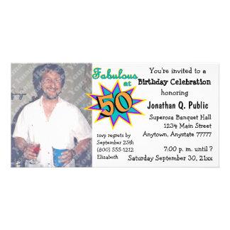 Fabuloso no convite da foto de 50 festas de cartão com foto