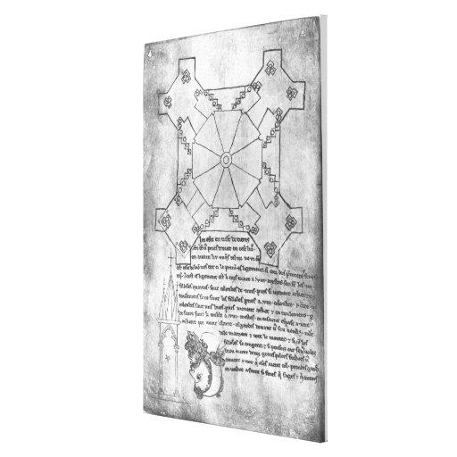 Fac-simile a cópia de um plano da torre impressão em canvas