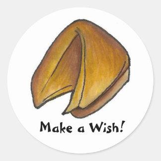 Faça a um biscoito de fortuna do desejo a comida adesivo redondo