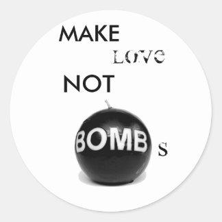 FAÇA as BOMBAS do AMOR NÃO - personalizadas Adesivo Em Formato Redondo