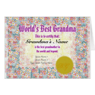 Faça cartão do certificado do prêmio da avó de um