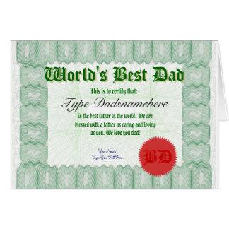 Faça cartão do prêmio de Certicate do pai de um