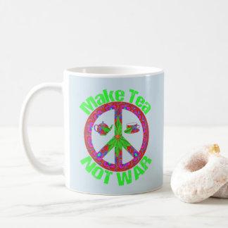 Faça o chá não guerrear caneca da paz do Hippie do