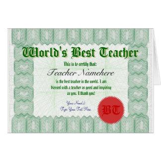 Faça o melhor professor de um mundo Certificate o Cartão Comemorativo