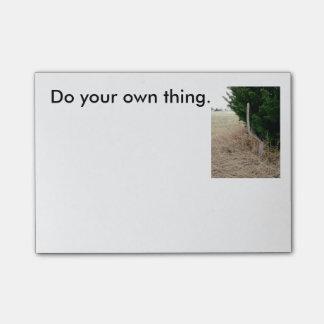 Faça sua própria coisa, notas pegajosas do bloquinho de nota