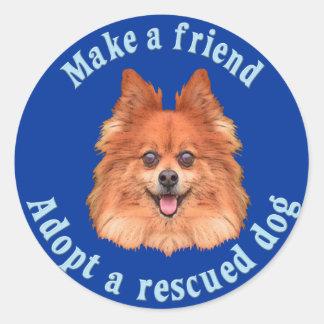 Faça um amigo - Pomeranian Adesivos Redondos