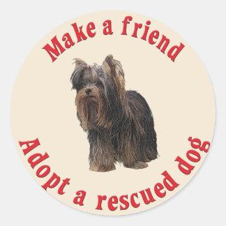 Faça um amigo - yorkshire terrier adesivos redondos