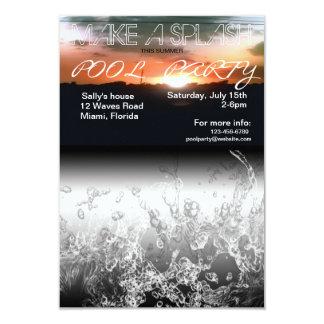 Faça um convite da festa na piscina do verão do convite 8.89 x 12.7cm