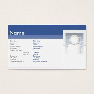Facebook - negócio cartão de visitas