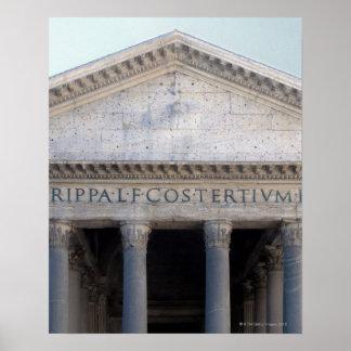 Fachada do panteão em Roma, Italia Pôster