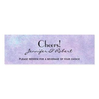 Fada azul no bilhete roxo da bebida do casamento modelos cartão de visita