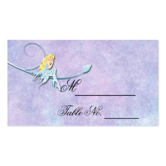 Fada azul no cartão roxo do lugar do casamento cartoes de visitas