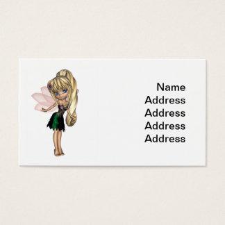 Fada bonito de Toon no vestido verde e roxo da Cartão De Visitas