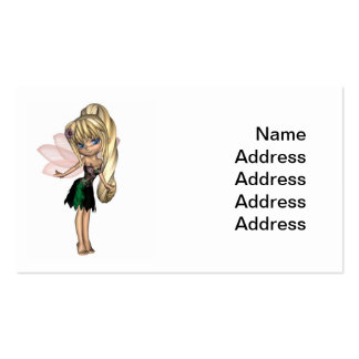 Fada bonito de Toon no vestido verde e roxo da flo Modelo Cartões De Visitas