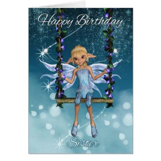 Fada bonito do feliz aniversario da irmã no balanç cartão