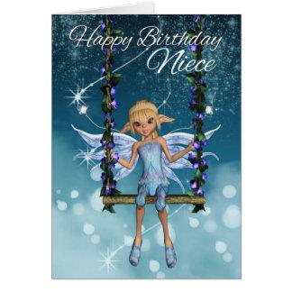 Fada bonito do feliz aniversario da sobrinha no cartão comemorativo