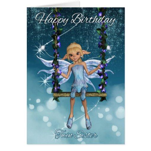 Fada bonito gêmea do feliz aniversario da irmã no  cartão