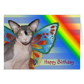 Fada do gato do arco-íris do aniversário do cartão
