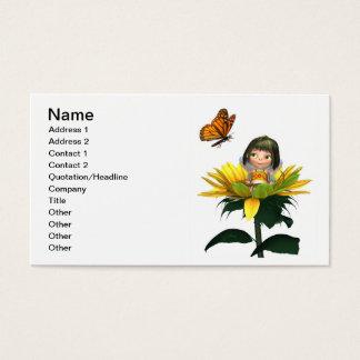 Fada do girassol do bebê com borboleta cartão de visitas