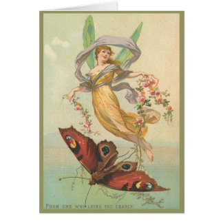 Fada e borboleta no cartão do céu