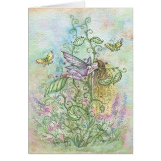 Fada e borboletas de sono lunáticas da flor cartão comemorativo