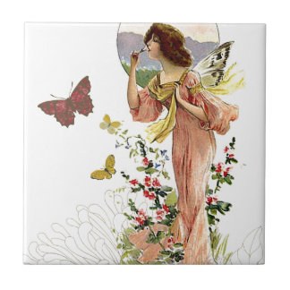 Fada e borboletas do Victorian Azulejos De Cerâmica