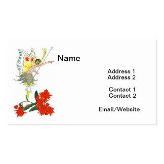 Fada & flores da borboleta do vintage cartão de visita
