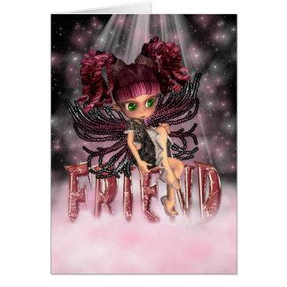Fada gótico do cartão da amizade que senta-se no a