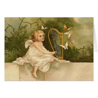 Fada musical da harpa cartão de nota