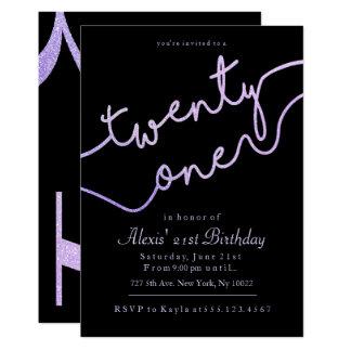 Faísca, convites roxos do aniversário de 21 anos