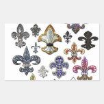 Faísca da jóia de Flor Nova Orleães da flor de lis Adesivos Retangular