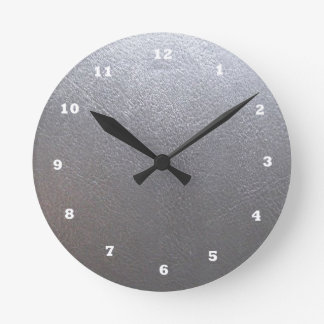 Faísca do cinza DE PRATA: Revestimento de couro do Relógio Redondo