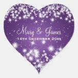 Faísca elegante Purple Heart do inverno da data do Adesivos De Corações