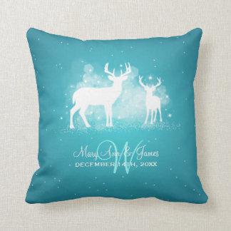 Faísca elegante Turquois dos cervos do inverno do Almofada