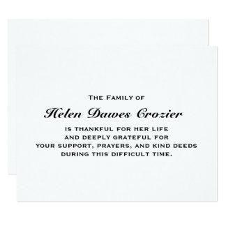 Falecimento e simpatia Notecard liso Convite 10.79 X 13.97cm