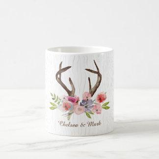 Falso Bois dos Wildflowers dos Antlers dos cervos Caneca De Café