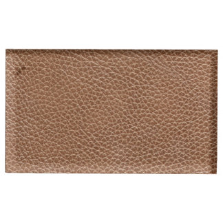 Falso Brown natural de couro Suporte Para Cartões De Mesa