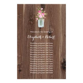 Falso de madeira com rosa do frasco de pedreiro da flyer 13.97 x 21.59cm