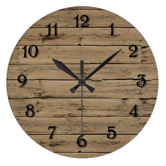 Falso rústico de madeira relógio para parede