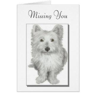 """""""Faltando o"""" cartão bonito do cão do westie"""